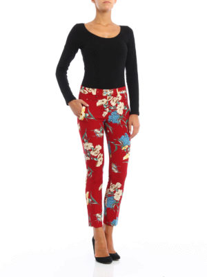 Dondup: casual trousers online - Floral print trousers
