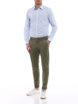 Dondup: casual trousers online - Gaubert green cotton trousers