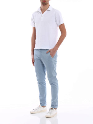 Dondup: casual trousers online - Gaubert light blue cotton trousers