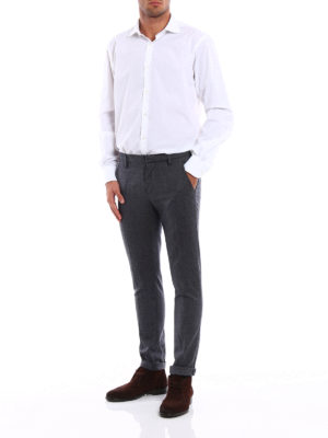 Dondup: casual trousers online - Gaubert melange wool chinos