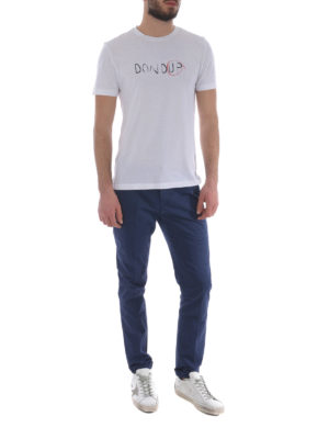 Dondup: casual trousers online - Gaubert solid blue cotton trousers