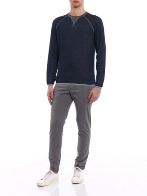 Dondup: casual trousers online - Gaubert solid grey cotton trousers