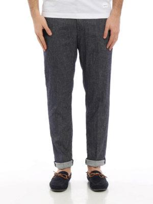 Dondup: casual trousers online - Linen denim Patrick trousers