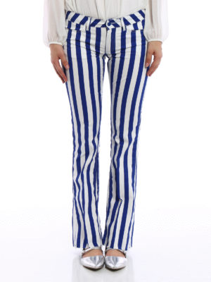 Dondup: casual trousers online - Neon striped bootcut trousers