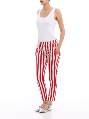Dondup: casual trousers online - Perfect striped cotton trousers