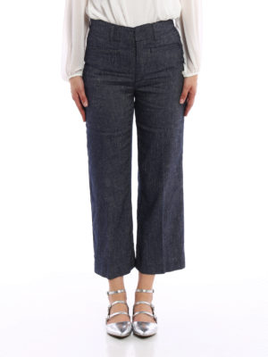 Dondup: casual trousers online - Romy linen blend trousers