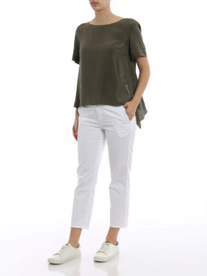 Dondup: casual trousers online - Rothka white cotton crop trousers