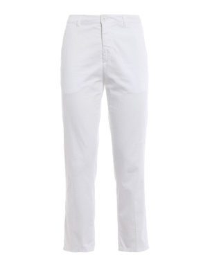 Dondup: casual trousers - Rothka white cotton crop trousers