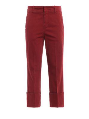 DONDUP: pantaloni casual - Pantaloni dritti in rasatello rosso salmone