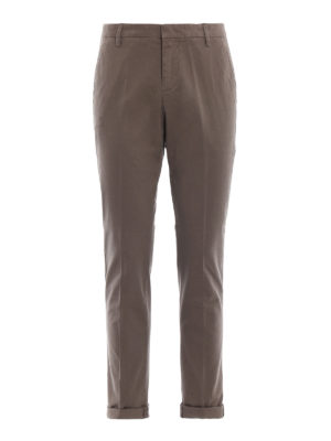 DONDUP: pantaloni casual - Pantaloni Gaubert in misto cotone color kaki