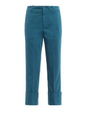 DONDUP: pantaloni casual - Pantaloni dritti in rasatello turchese