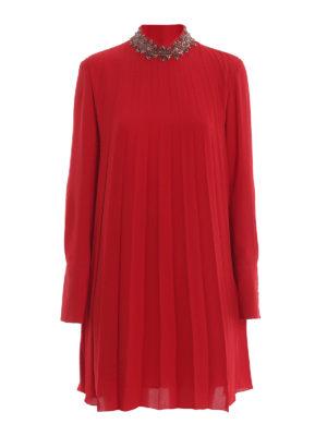 DONDUP: cocktail dresses - Embellished mock neck pleated crepe dress