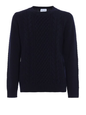 Dondup: crew necks - Blue merino wool crew neck sweater