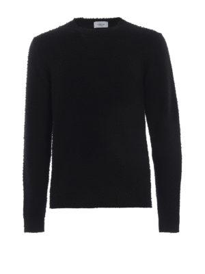 DONDUP: maglia collo rotondo - Girocollo nero lana cashmere effetto bouclé