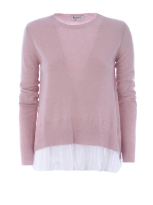 Dondup: crew necks - Cashmere blend sweater with chiffon