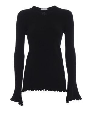 Dondup: crew necks - Cut out back rib knitted sweater