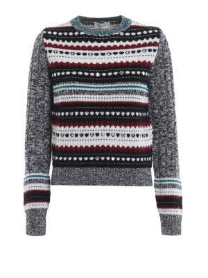 DONDUP: maglia collo rotondo - Pull in misto lana con intarsi e borchie