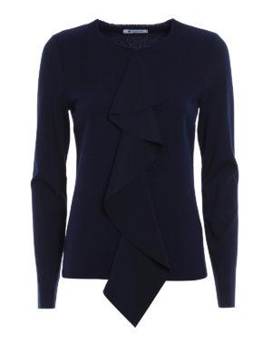 Dondup: crew necks - Frilled merino wool sweater