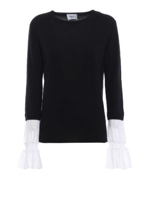 DONDUP: maglia collo rotondo - Pull in misto cashmere con polsi in georgette