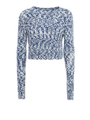 Dondup: crew necks - Melange cotton tape crop sweater