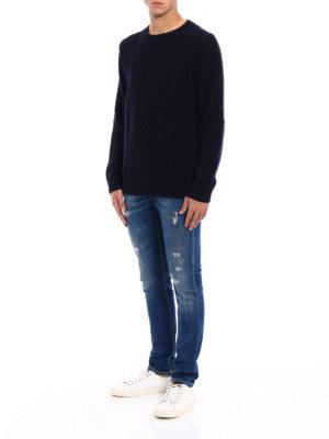 Dondup: crew necks online - Blue merino wool crew neck sweater