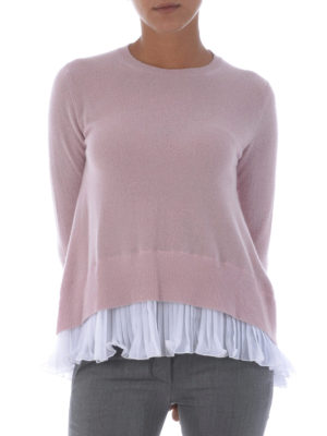 Dondup: crew necks online - Cashmere blend sweater with chiffon