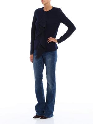 Dondup: crew necks online - Frilled merino wool sweater