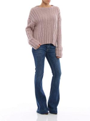 Dondup: crew necks online - Lurex rib knitted pullover
