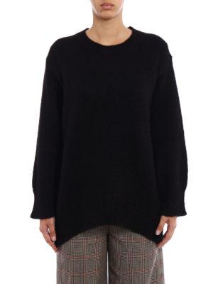 Dondup: crew necks online - Rear vent comfy black pullover