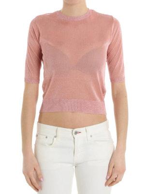 Dondup: crew necks online - Short sleeve glowing crop sweater