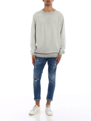 Dondup: crew necks online - Used effect knitted cotton pullover