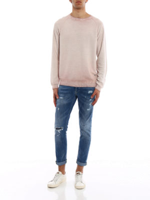 Dondup: crew necks online - Used effect pink cotton pullover