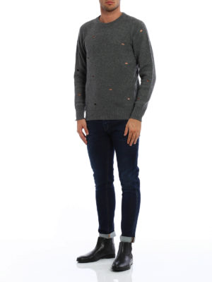 Dondup: crew necks online - Wool crewneck with worn out details