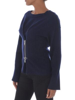 Dondup: crew necks online - Zip detail merino wool crewneck