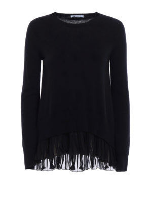 Dondup: crew necks - Pleated bottom cashmere sweater