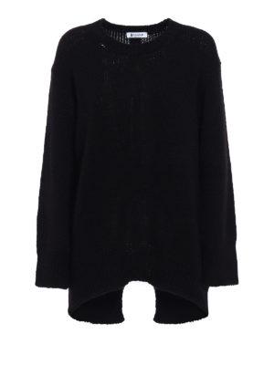 Dondup: crew necks - Rear vent comfy black pullover