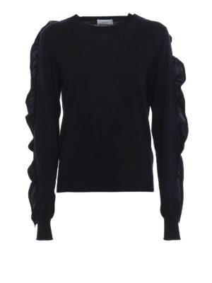 DONDUP: maglia collo rotondo - Pullover in lana merino a pois con ruches