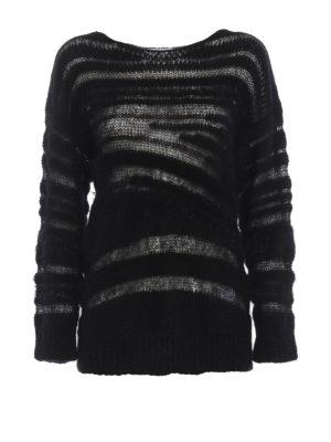 DONDUP: maglia collo rotondo - Maglione nero in mohair e lana a intarsi