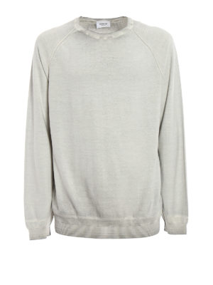 Dondup: crew necks - Used effect knitted cotton pullover