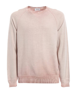 Dondup: crew necks - Used effect pink cotton pullover