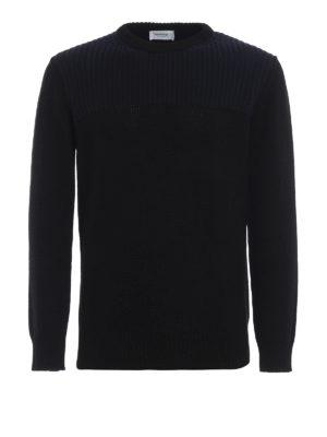 DONDUP: maglia collo rotondo - Girocollo nero e blu in misto lana