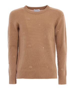 Dondup: crew necks - Wool crewneck with worn out details