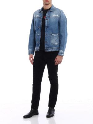 Dondup: denim jacket online - Patch pocket destroyed denim jacket