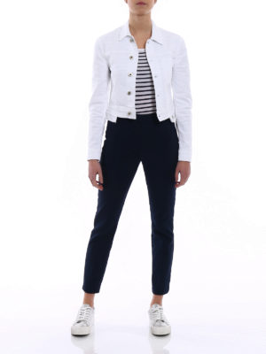 Dondup: denim jacket online - White denim cropped jacket