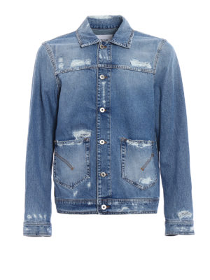 Dondup: denim jacket - Patch pocket destroyed denim jacket