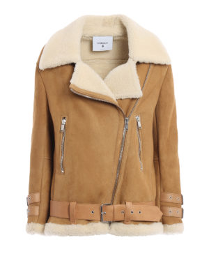 Dondup: Fur & Shearling Coats - Biker shearling coat