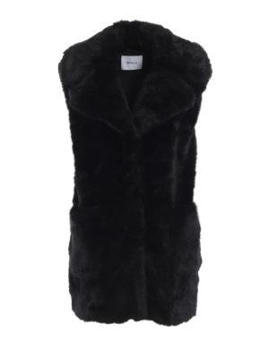 DONDUP: Pellicce e montoni - Gilet nero in eco-pelliccia senza maniche