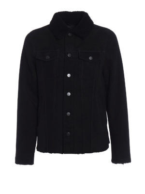 Dondup: Fur & Shearling Coats - Black soft shearling jacket