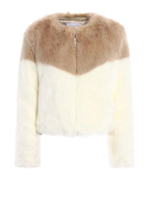 Dondup: Fur & Shearling Coats - Colour block faux fur crop jacket