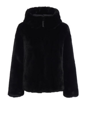 Dondup: Fur & Shearling Coats - Faux fur hooded jacket